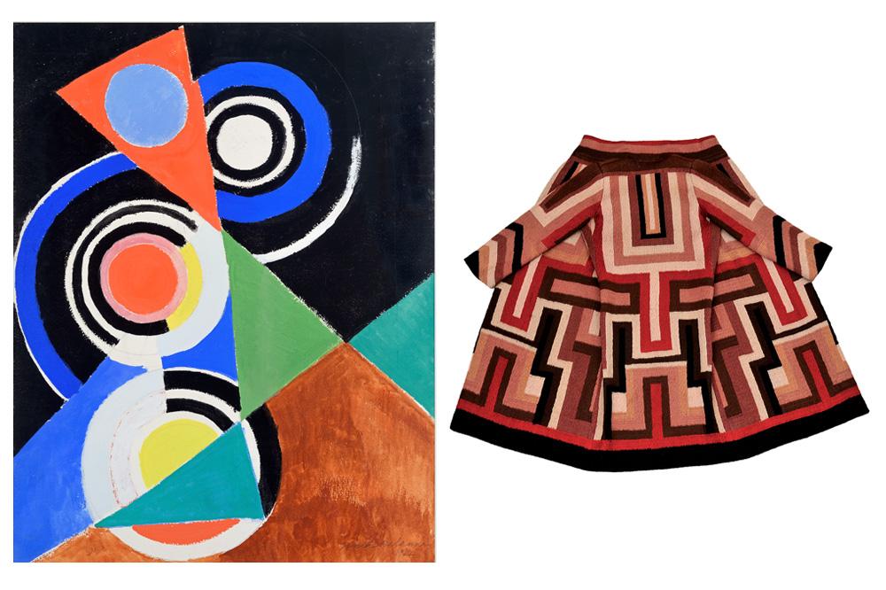 """""""Composition pour jazz, 2e série, No F 344"""" de Sonia Delaunay (Paris 1952) -Manteau pour Gloria Swanson de  Sonia Delaunay 1924,"""