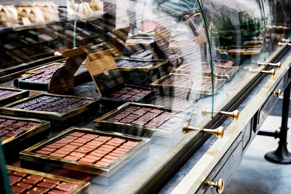 Manufacture de Chocolat : vitines (Photo de Pierre Monetta)