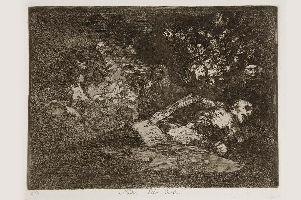 """""""Nada. Ello dira"""", Goya, estampe 1810-1823"""