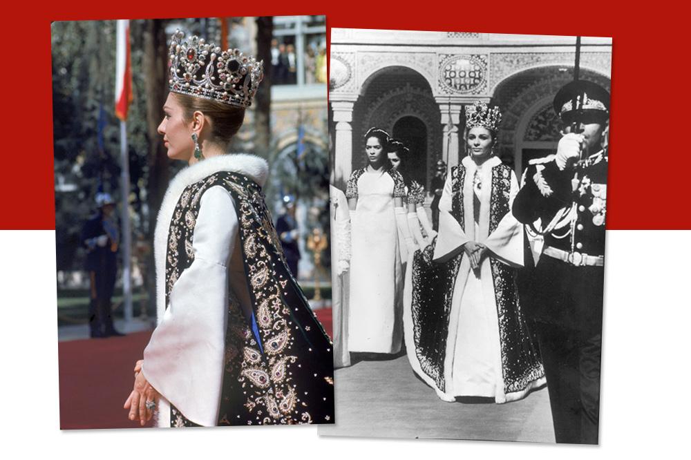 Impératrice Farah d'Iran, le jour de son couronnement en1967, parée de la couronne et des bijoux Van Cleef & Arpels