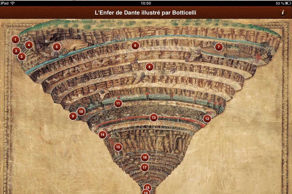 """Appli """"La divine comedie"""" de Dante illustré par Botticelli - Diane de Selliers Editeur"""
