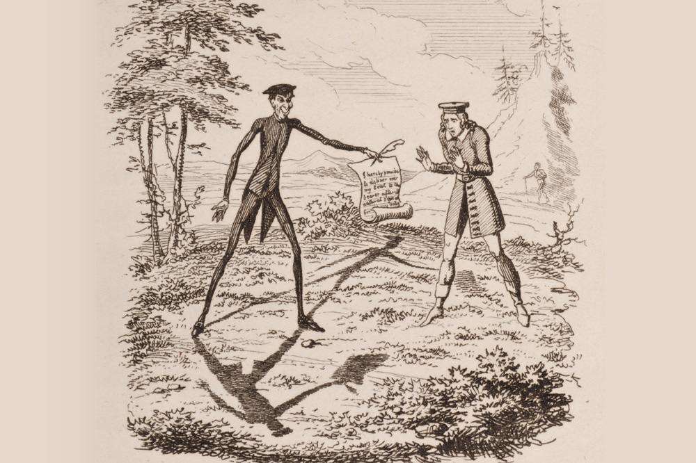 "Gravure extraite de ""Peter Schlemihl"", de Adelbert von Chamisso, 1814"
