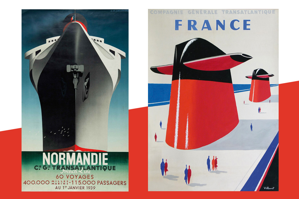 Affiches de Transatlantiques illustratiées par Cassandre et Villemot
