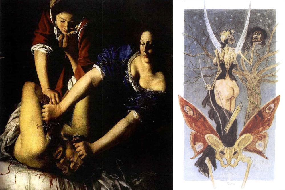 """""""Judith et Holopherne"""", Artemisia Gentileschi, huile sur toile, 1625-1630, Museo Nazionale di Capodimonte, Naples ; """"L'initiation sentimentale"""", Félicien Rops, aquarelle et technique mixte, 1887, Musée du Louvre, Paris"""
