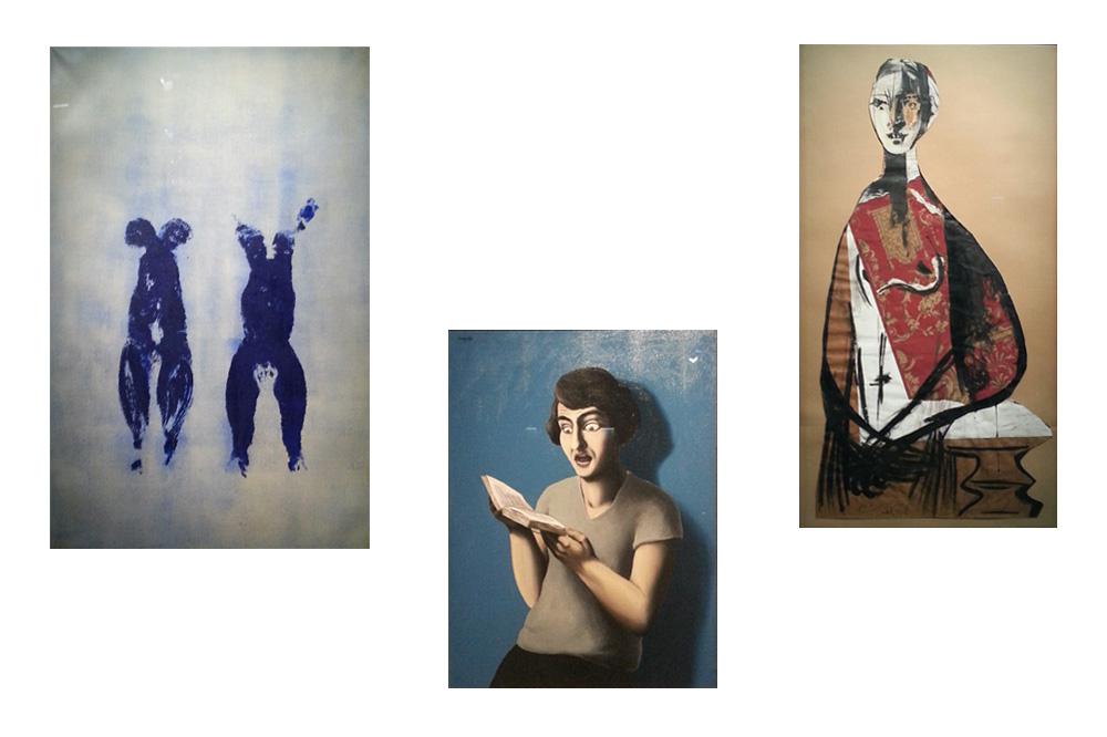 """""""Anthropométrie sans titre"""" d'Yves Klein - """"La lectrice soumise"""" de René Magritte - """"Portrait de femme"""" de Pablo Picasso"""