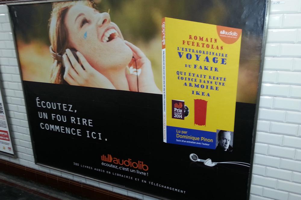 """L'extraordinaire voyage du fakir qui était resté coincé dans une armoire Ikea"""" de Romain Puertolas lu par Dominique Pinon - Editions Audiolib"""