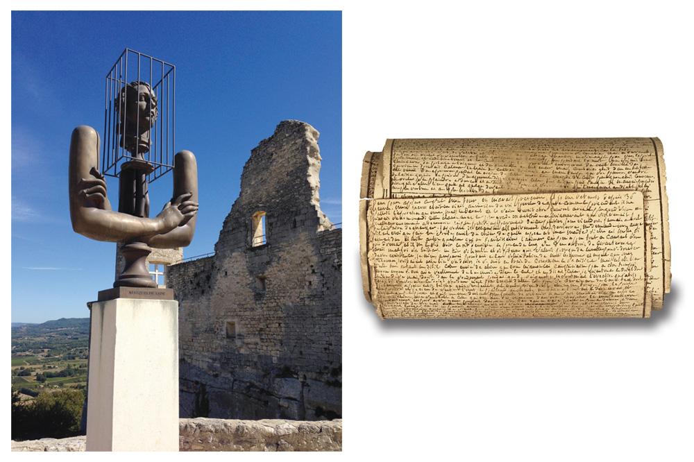 """Bronze Lacoste d'Alexandre Bourganov (copyright Jean-Pascal Hesse) - Rouleau manuscrit """"Cent vingt journées de Sodome"""" (copyright Fondation-Martin Bodmer)"""