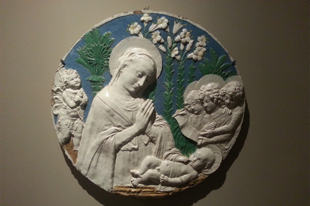 """""""Vierge à l'enfant en prière et  ange avec un phylactère"""" Atelier des Della Robbia"""