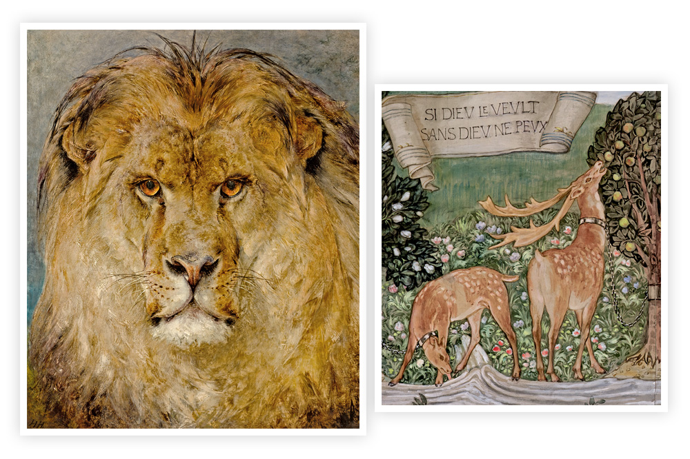 """""""Tête de lion"""" - """"Etude pour une  tapisserie"""" de  Edward Coley Burne-Jones"""
