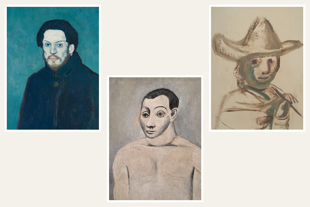 """Autoportraits de Picasso, 1901 et 1906 ; """"le jeune peintre"""" de Picasso, 1972"""