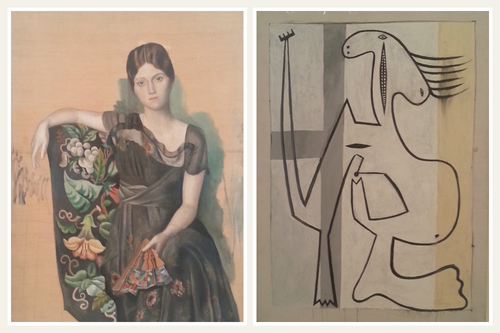 """""""Portrait d'Olga dans un fauteuil"""" de Picasso, 1918 ; """"Nu sur fond blanc"""" de Picasso, 1927"""