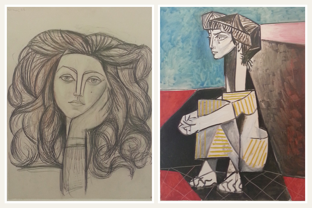 """""""Portrait de Françoise"""" de Picasso, 1946 ; """"Jacqueline aux mains croisées"""" de Picasso, 1954"""