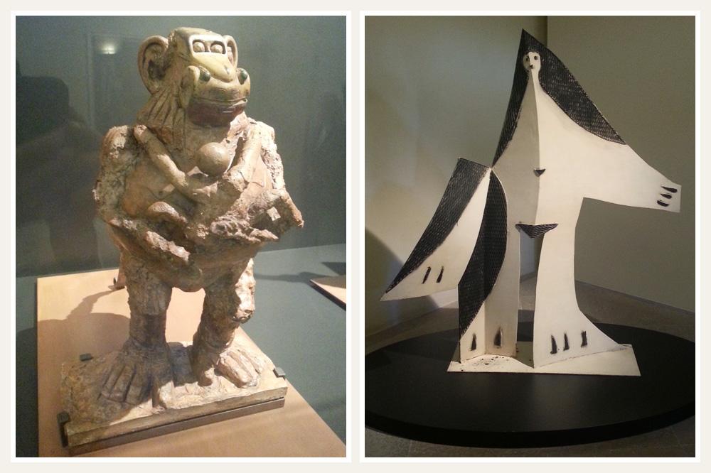 """""""La gueunon et son petit"""" de Picasso, 1951 ; """"Femme aux bras écartés""""de Picasso, 1961"""
