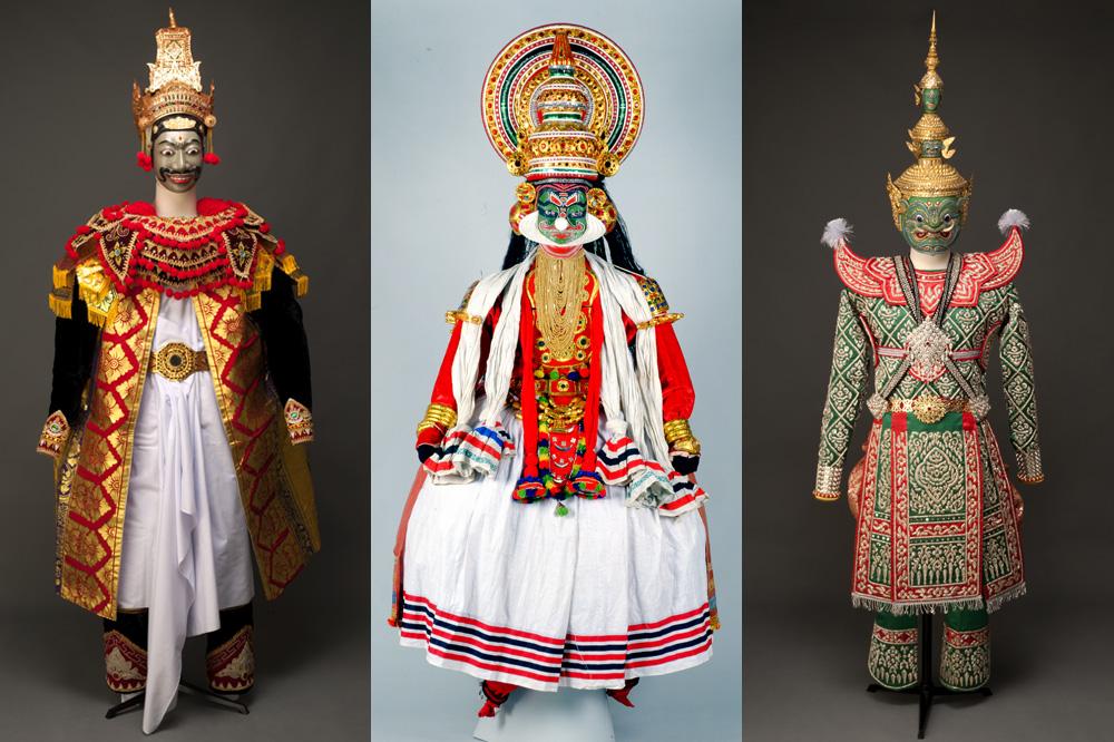 Masque et costume pour le personnage de Rama - Ravana, démon à dix têtes, roi de Lanka - Masque et costume pour Tosakanth, nom thaï de Ravana