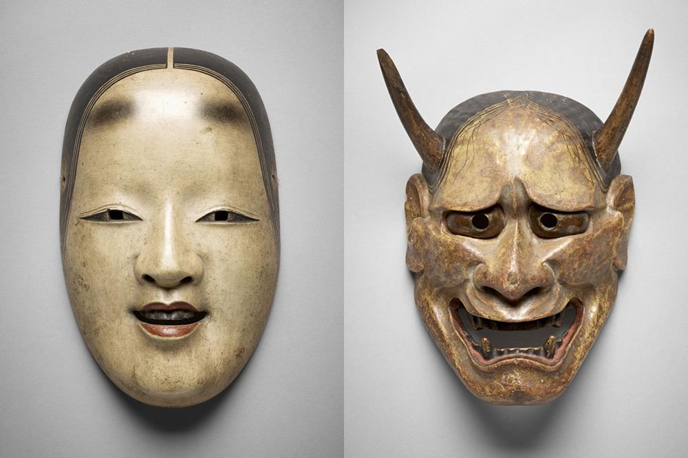 Jeune femme : Manbi, Japon, époque d'Edo (1603-1868) - Esprit de femme jalouse : Hannya, Japon, époque d'Edo (1603-1868)