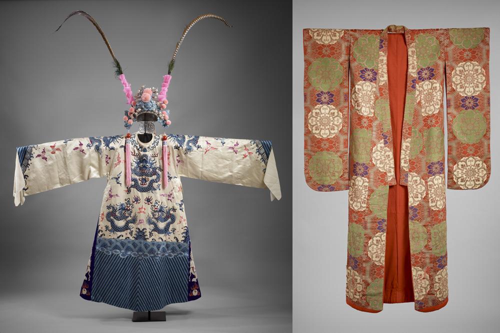 Robe de cour de général à motifs de dragons (mang) et coiffe de cérémonie à plumes de faisan vénéré, Chine, début du XIXe siècle, Soie et fils métalliques - Costume de kabuki de type uchikake, Japon, époque d'Edo (1603-1868), Satin de soie brodé, fils métalliques