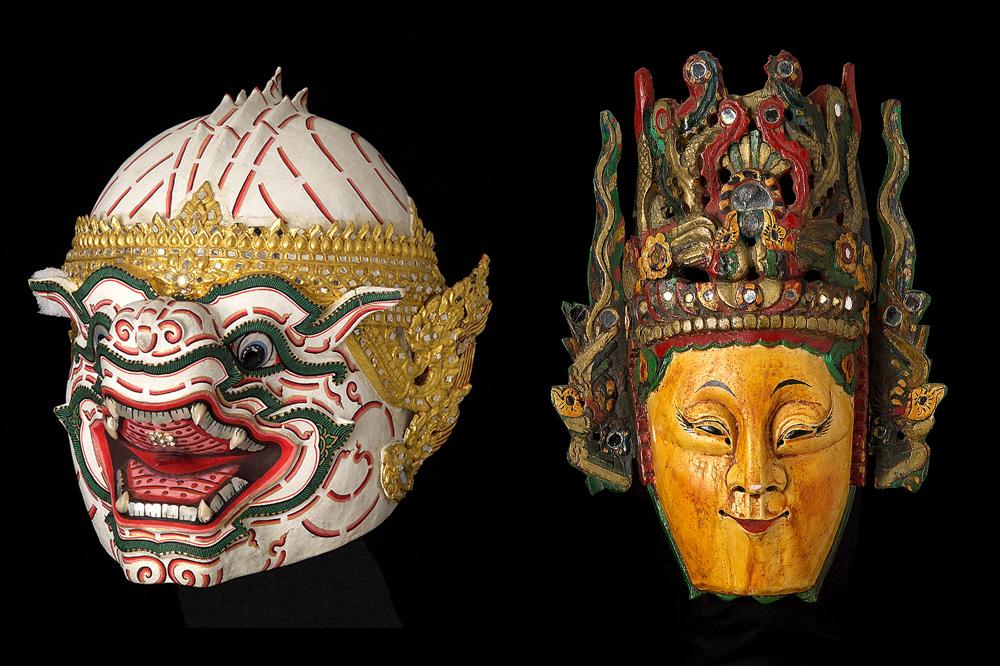 Hanuman, Théâtre Khon Thaïlande, 1985, Papier mâché, miroirs, verre et métal - Personnage féminin, Théâtre de Dixi Chine, Guizhou, milieu XXe siècle, Bois, miroirs
