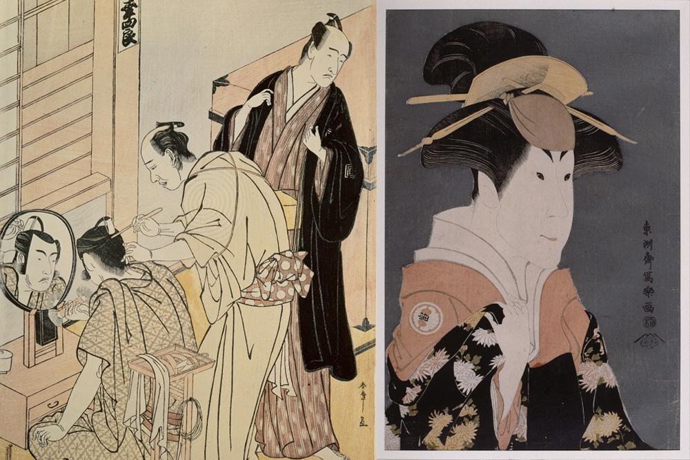 Shunshô Katsukawa (1726-1792), L'acteur Matsumoto Kôshinô se maquillant dans sa loge, Japon, 1789, Xylographie en couleurs (nishiki-e) sur papier - Toshusai Sharaku (actif 1794-1795) L'onnagata Segawa Tomisaburo, Japon, 1794, Xylographie en couleurs (nishiki-e) sur papier