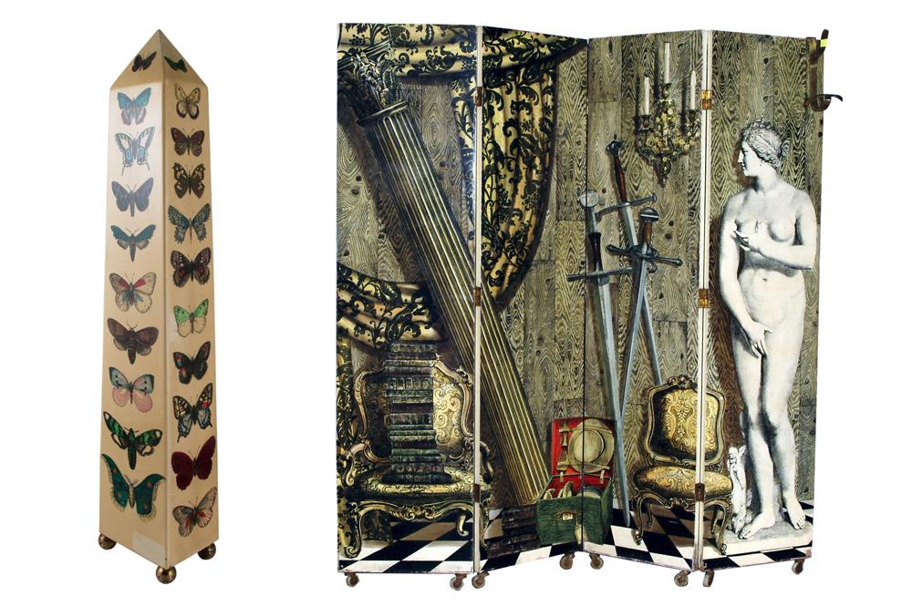 Piero Fornasetti, Esquisse « Arlecchini » préparatoire pour les piliers du Cinéma Arlecchino à Milan, 1949 - Paravent « Angolo Antico con Eva », lithographie sur bois, peint à la main. 200 x 200 cm, 1952
