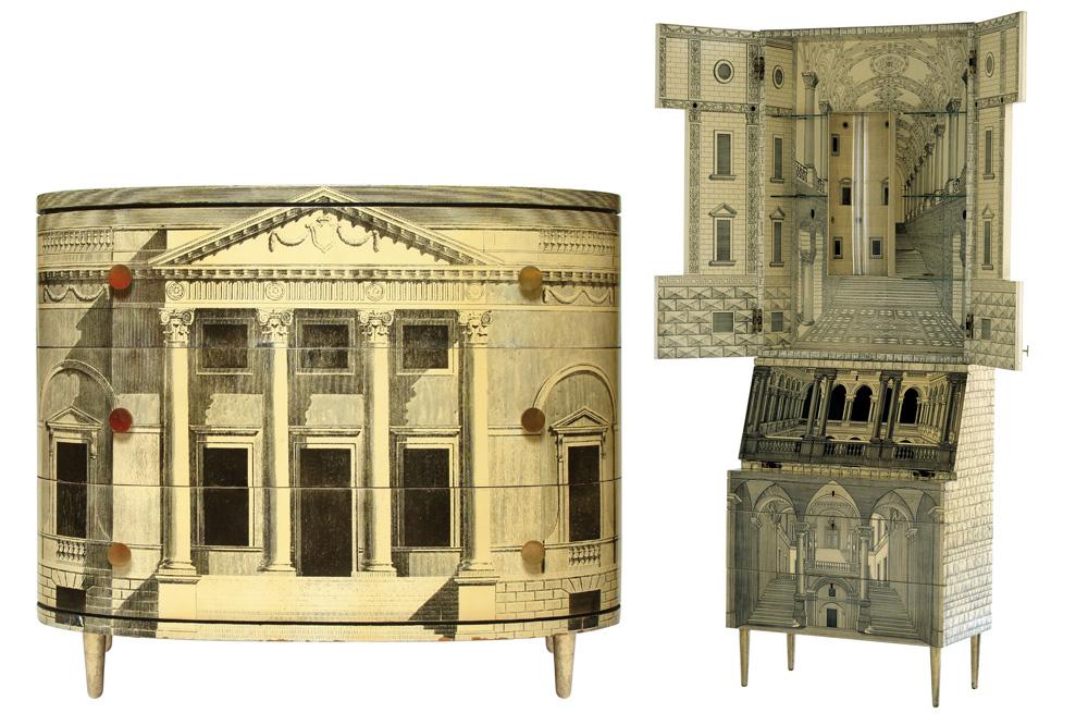 Piero Fornasetti, Commode « Palladiana », lithographie sur bois, 1951 - Cabinet « Trumeau Architettura », lithographie sur bois, 1951