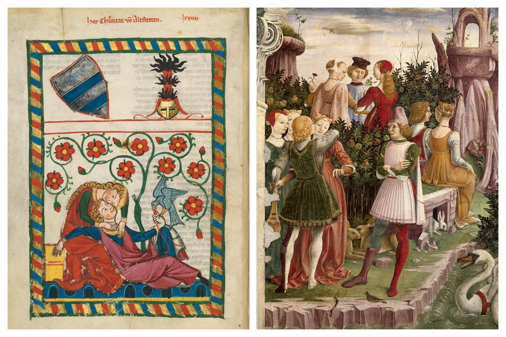 """""""Herr Konrad von Altstetten"""", 1300-1340 ; """"Le Triomphe de Vénus"""" (détail), de Francesco del Cossa, 1468-‐1469"""