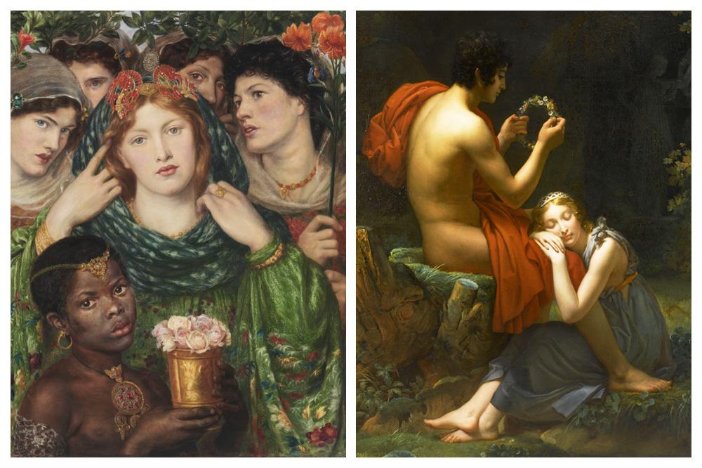 """""""La Fiancée"""" de Dante Gabriel Rossetti, 1865‐1866 ; """"Daphnis et Chloé"""" (détail) de François Gérard, 1824-1825"""