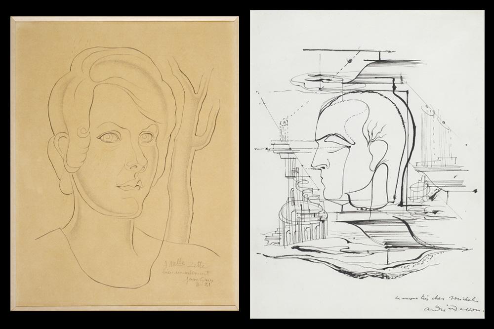 Portrait de Louise Leiris par Juan Gris ; Portrait de Michel Leiris par André Masson