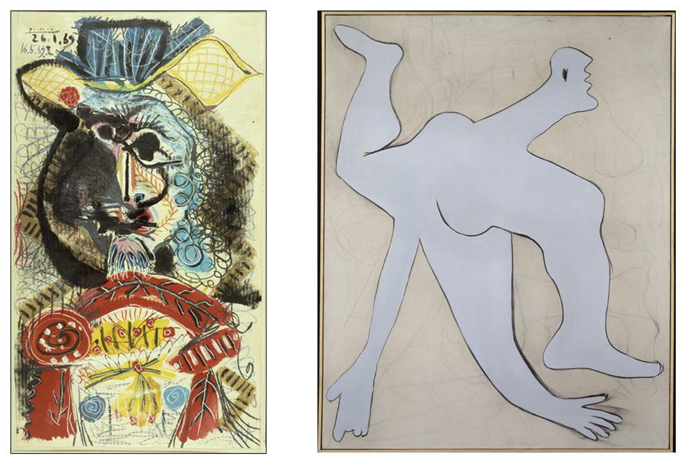 """""""Buste d'homme au chapeau"""" et """"l'acrobate bleu"""" de Pablo Picasso"""