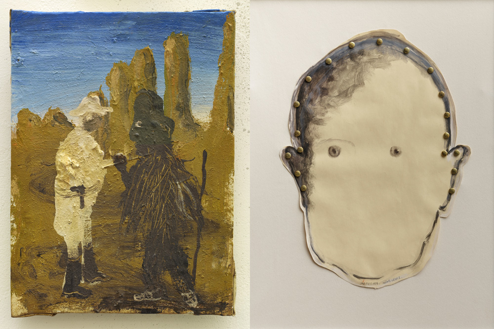 """""""En 1935 Sangha Gogoly"""" de Miquel Barcelo, 2000 ; """"portrait de Michel Leiris"""" par Alberola, 1994"""