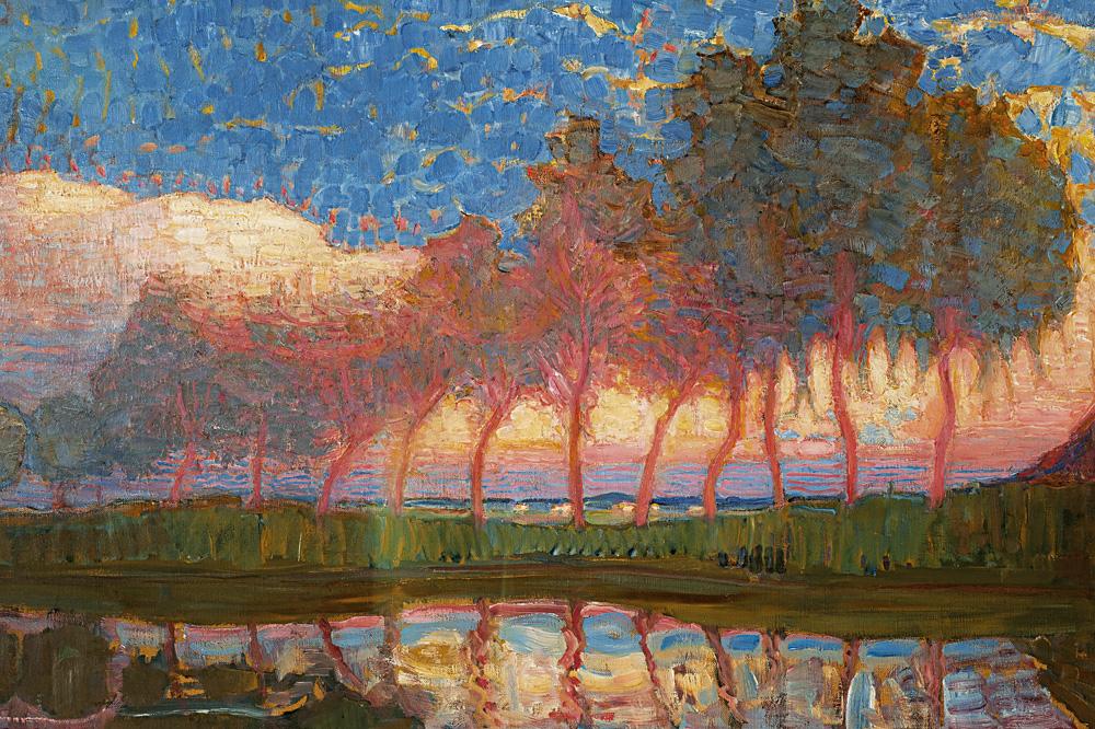 """""""Rangée de onze peupliers en rouge"""" de Piet Mondrian"""