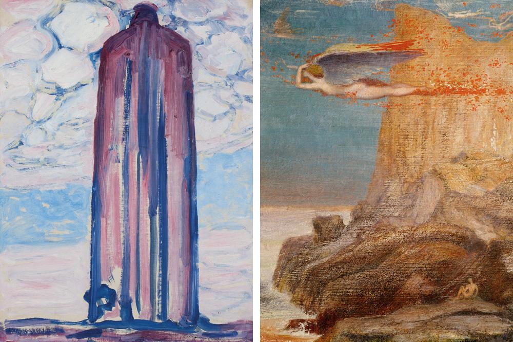 """""""Phare à Westkapelle avec nuages"""" de Piet Mondrian ; """"Poète et chimère"""" de Émile Fabry"""