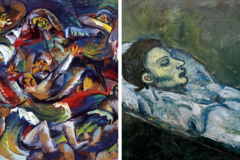 """""""Teranchée"""" d'Otto Dix ; """"Casagemas dans son cercueil"""" de Pablo Picasso"""