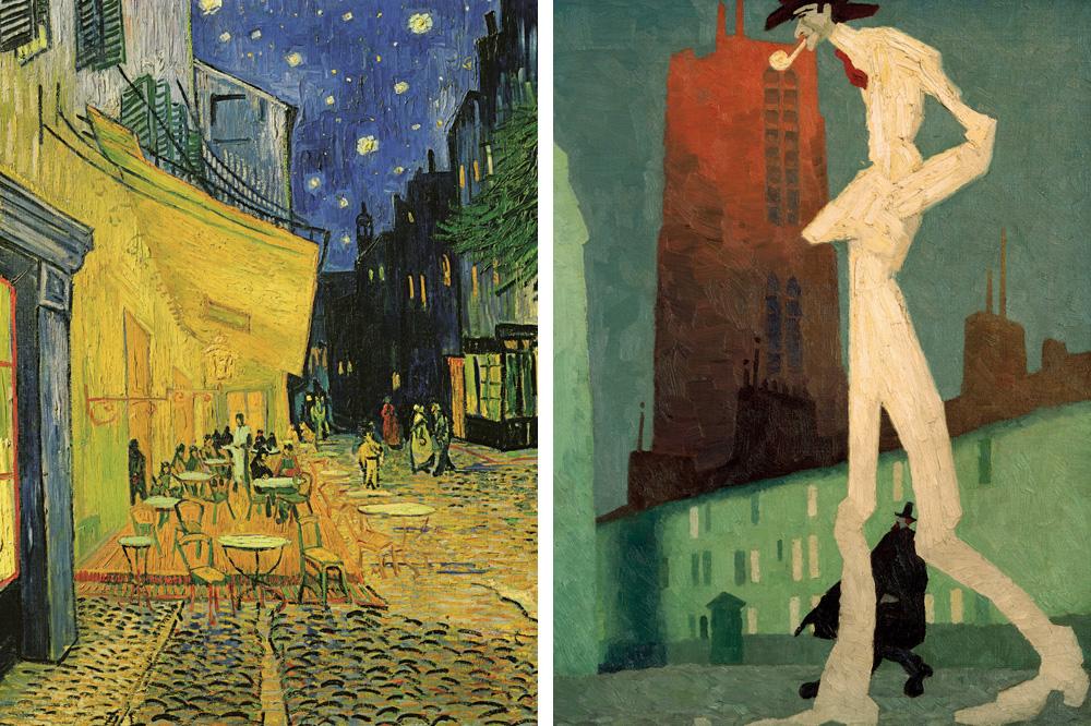 """""""Terrasse d'un café"""" de Vincent Van Gogh ; """"L'homme blanc"""" de Lyonel Feininger"""""""