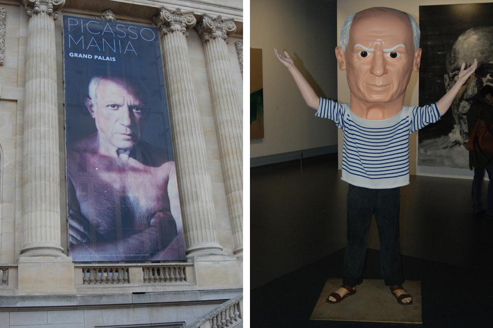 "Affiche de l'exosition ""Picasso. Mania"" ; ""Untitled (Picasso)"" de Maurizio Cattelan"