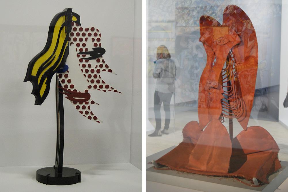 """""""Tête coup de pinceau II"""" de Roy Lichtenstein ; """"Version molle de la maquette pour un monument offert à Chicago par Pablo Picasso"""" de Claes Oldenburg"""