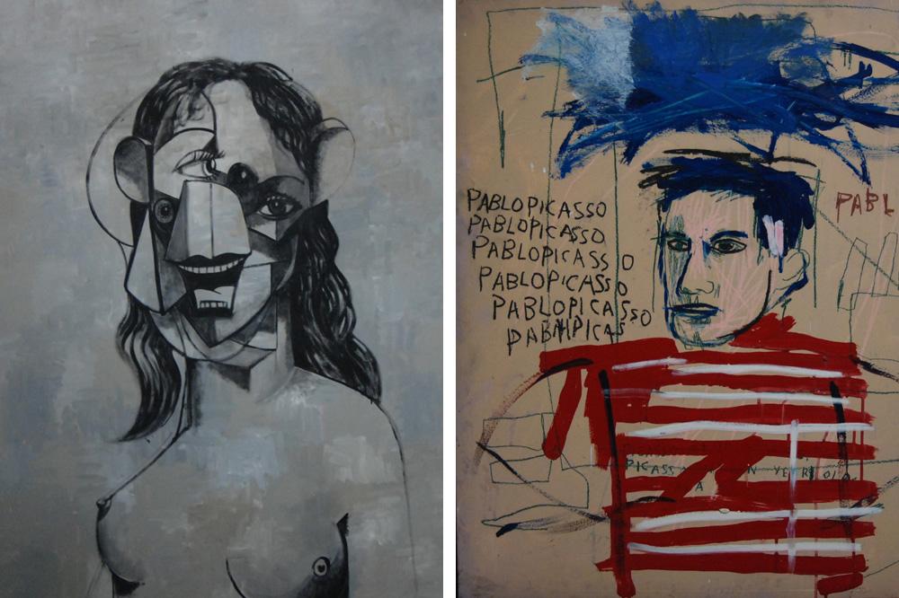"""""""Nous sommes qui vous pensez que nous sommes"""" de George Condo ; """"Untitled"""" de Jean-Michel Basquiat"""