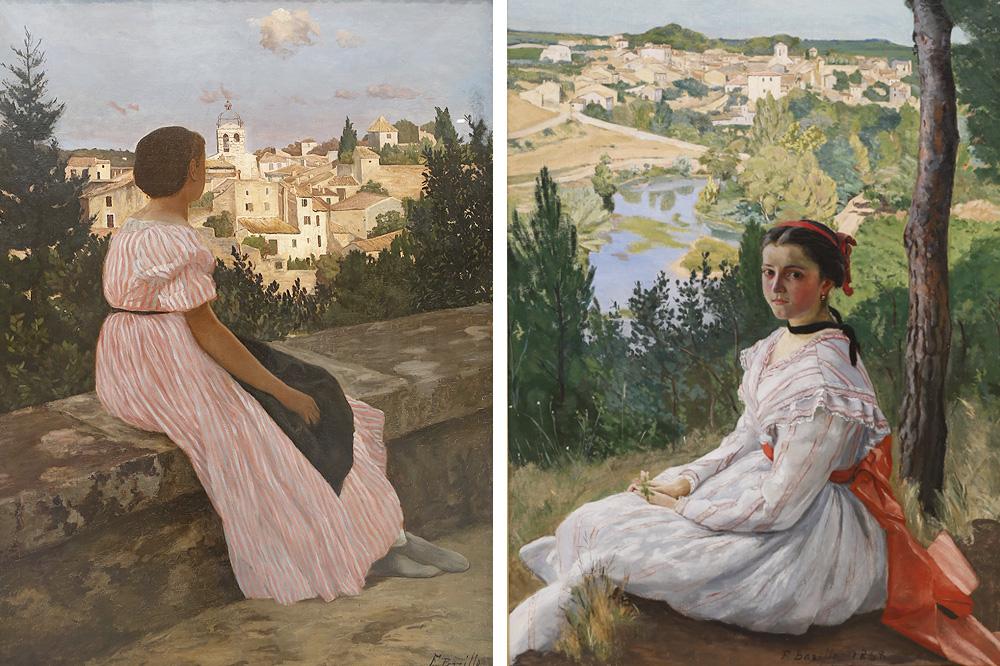 """""""La robe rose"""" 1864 ; """"Vue de Village"""" 1868 de Frédéric bazille"""