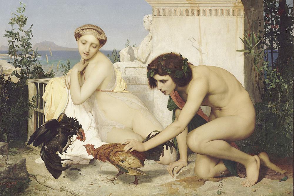"""""""Jeunes Grecs faisant battre des coqs"""" ou """"Un combat de coqs"""" de Jean Léon Gérôme - 1847"""