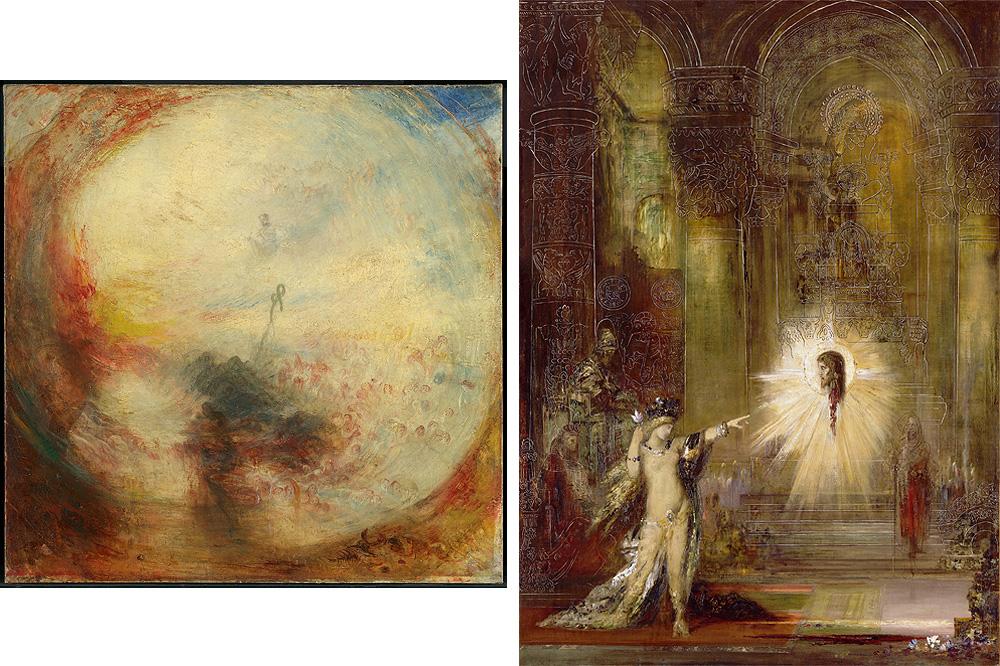 """""""Lumière et couleur (théorie de Goethe). Le matin après le Déluge. Moïse écrivant le livre de la Genèse"""" de William Turner - 1843 ; """"L'Apparition"""" de Gustave Moreau - 1876"""