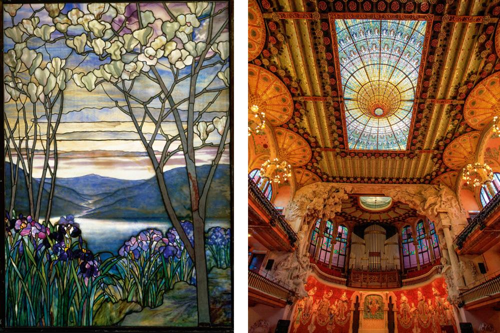 """Magnolias et Iris"" de Louis Comfort Tiffany vers 1908 ; Vitrail du Palau de la Música Catalana de Lluís Domènech i Montaner - 1908"